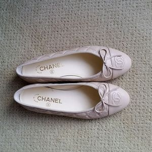 Chanel Ballerinas Flats 36.5 Light Beige/Cream
